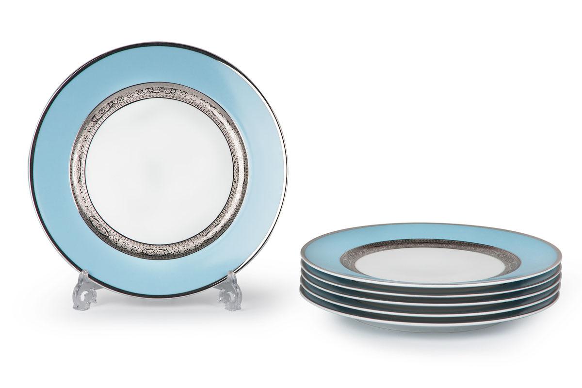 Mimosa 1626, набор тарелок 27см (6шт), цвет: бело-голубой с платиной539116 1626В наборе тарелка 27 см 6 штук