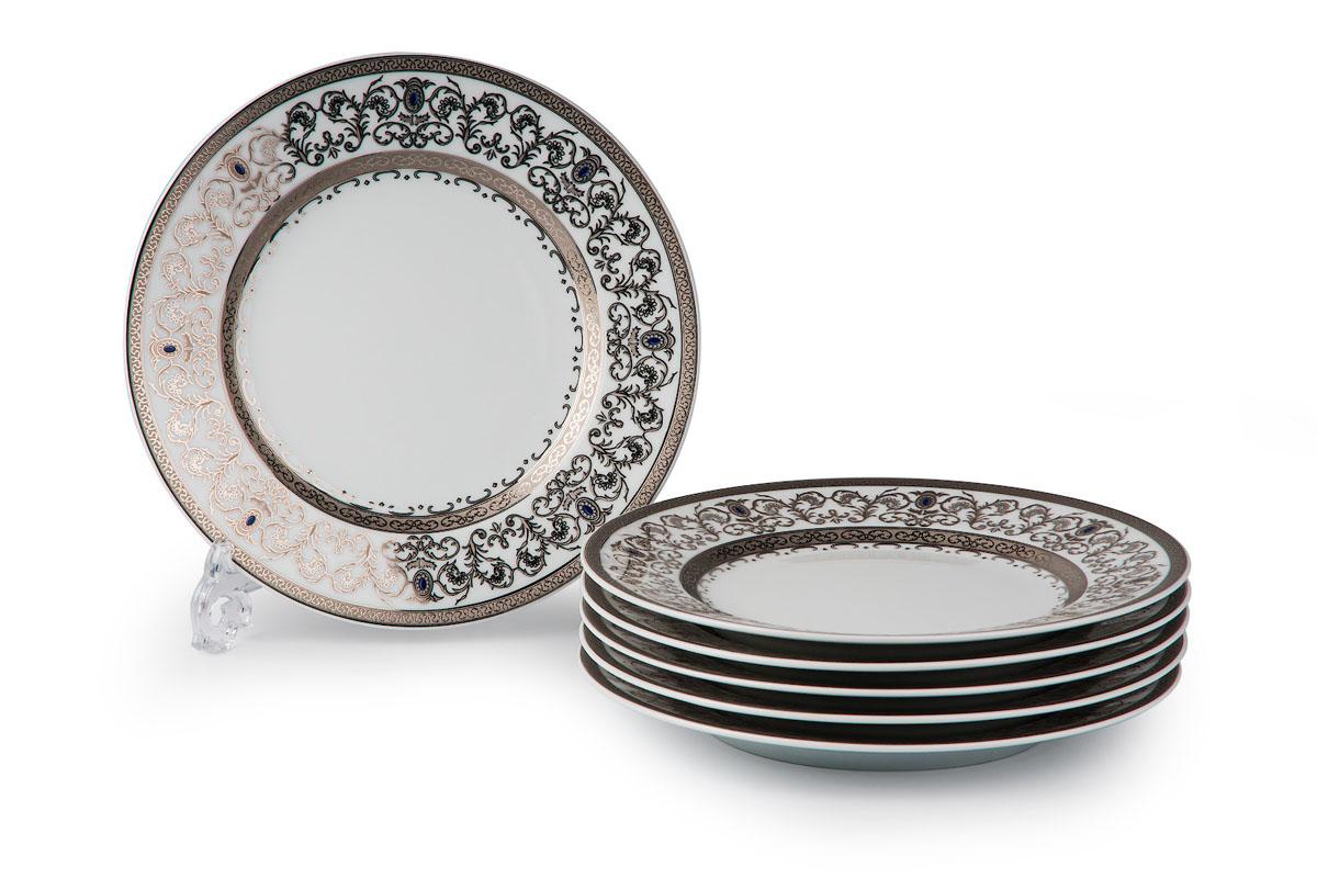 Mimosa 1647, набор тарелок 27см (6 шт), цвет: белый с платиной539116 1647В наборе тарелка 27 см 6 штук Материал: фарфор: цвет: белый с платиной Серия: Prague Platine