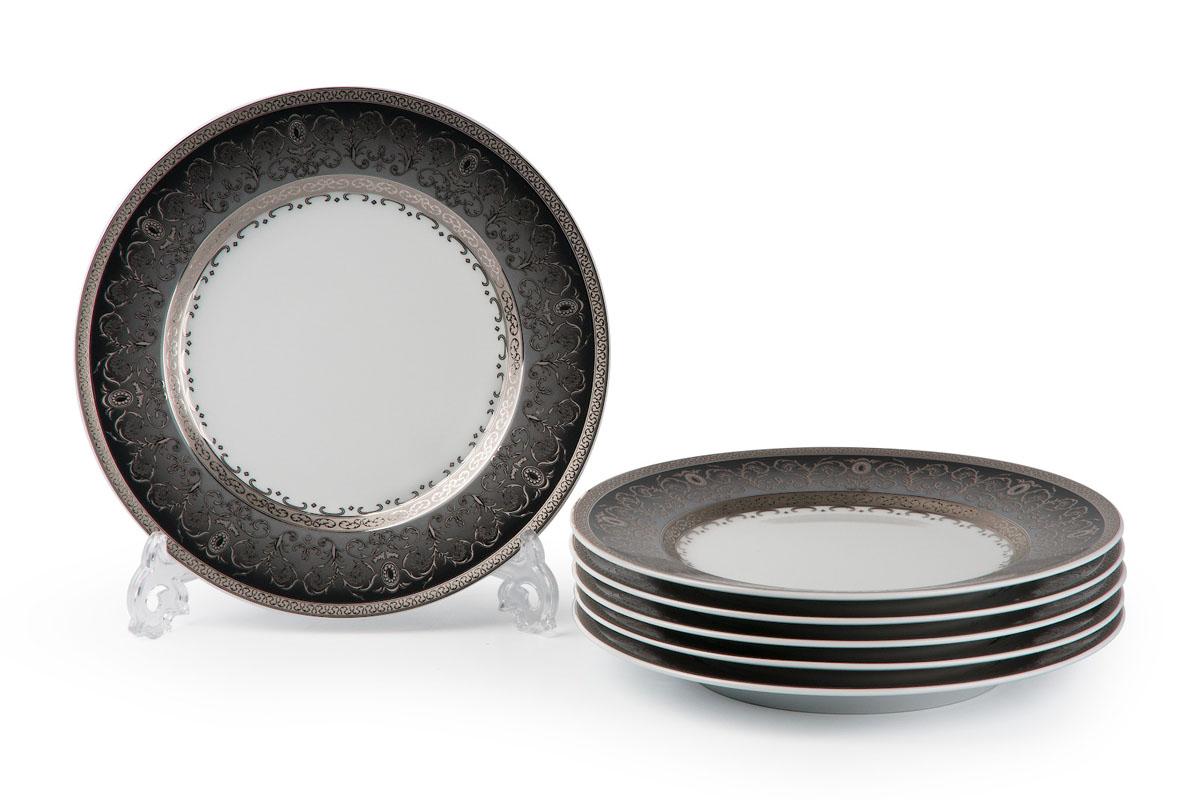 Mimosa, Prague Gris 1743, набор тарелок 27 см (6шт), цвет: черно-белый с платиной539116 1743В наборе тарелка 27 см 6 штук
