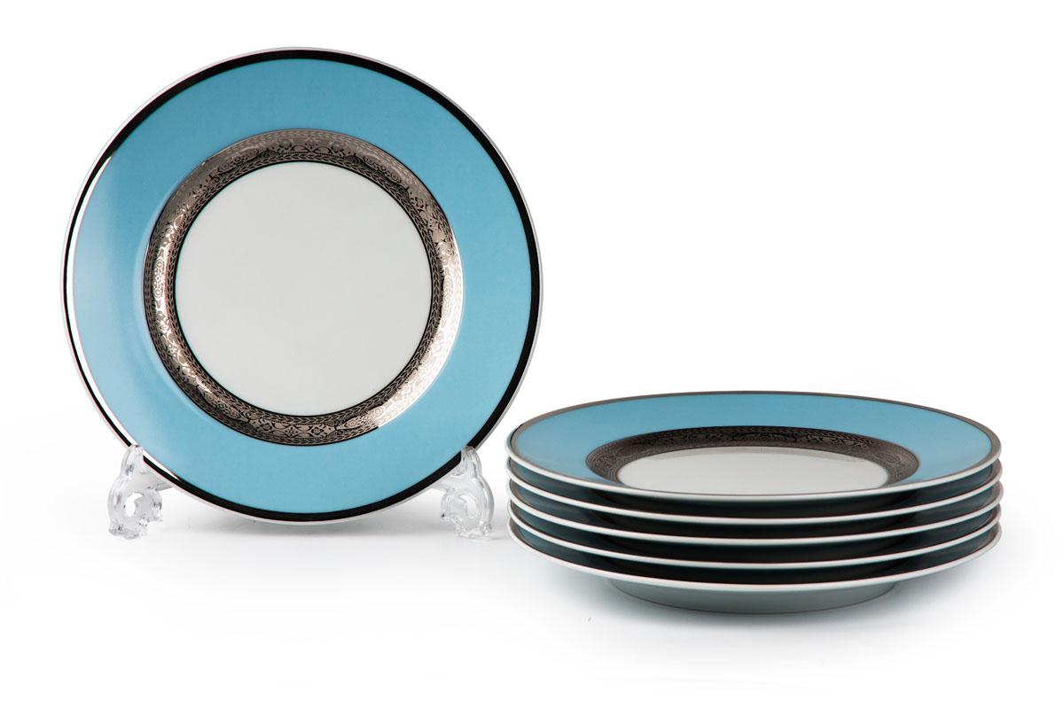 Mimosa 1626, набор глубоких тарелок 27см (6шт), цвет: бело-голубой с платиной539124 1626В наборе глубокая тарелка 6 штук