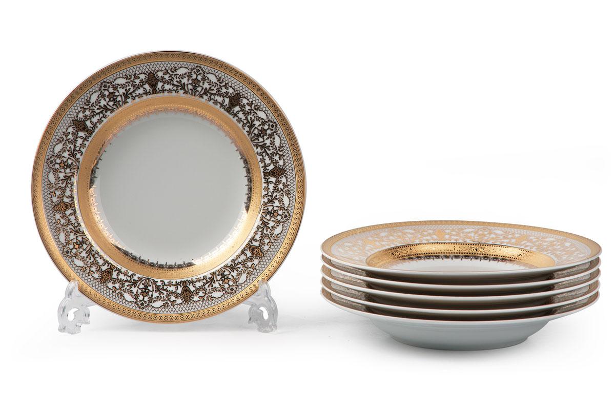 Mimosa 1645, Набор тарелок глубоких *6шт539124 1645в наборе глубокая тарелка 6 штук Материал: фарфор, цвет: белый с золотом