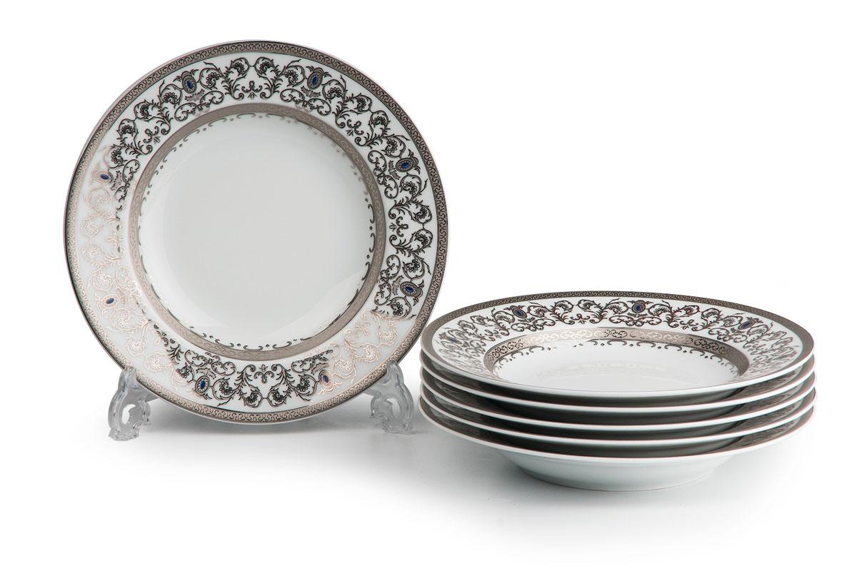 Mimosa 1647, набор глубоких тарелок (6 шт), цвет: белый с платиной539124 1647В наборе глубокая тарелка 6 штук Материал: фарфор: цвет: белый с платиной Серия: Prague Platine
