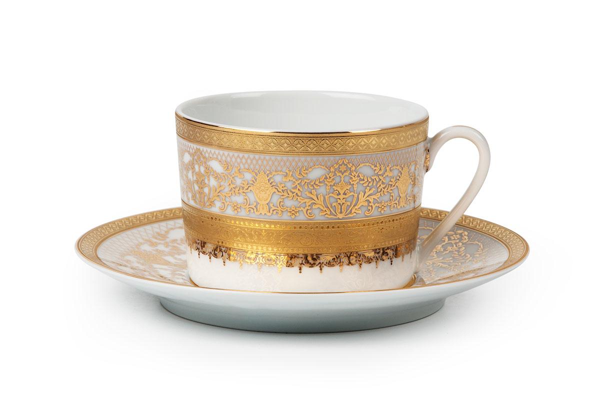 Mimosa 1645, Набор чайных пар *6шт (12 пр)539506 1645Чайная пара 220 мл * 6 штук/ 12 предметов Материал: фарфор, цвет: белый с золотом