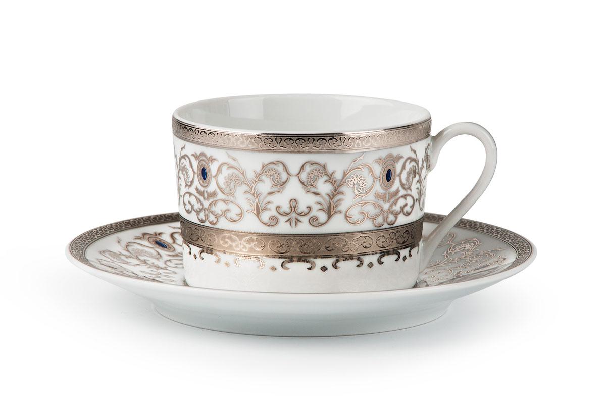 Mimosa 1647 набор чайных пар 220мл*6шт (12пр), цвет: белый с платиной539506 1647Чайная пара 220 мл * 6 штук/ 12 предметов