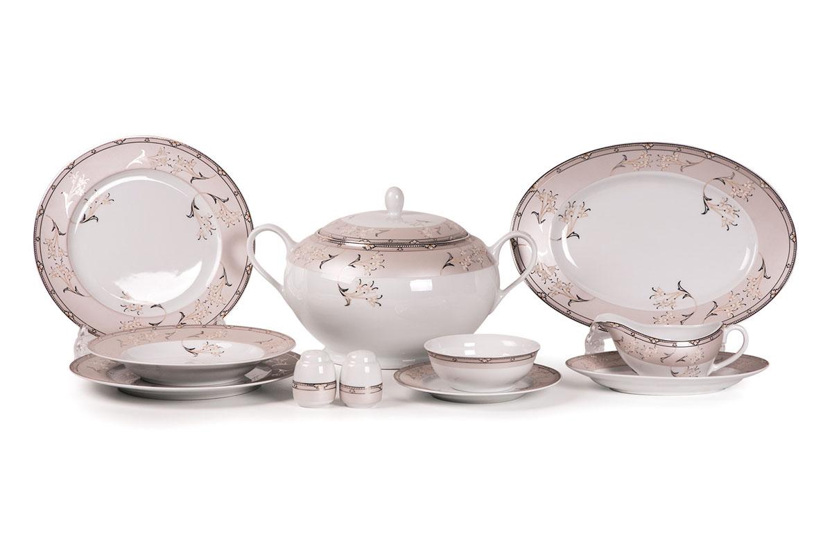 Mimosa 1558 сервиз столовый 25пр, цвет: белый с платиной539826 1558Супница 3,5 л , глубокая тарелка 22 см 6 штук , тарелка 27см 6 штук , десертная тарелка 21см 6 штук , солонка, перечница, Блюдо овальное 24 см, Блюдо овальное 35 см , салатник 25см, соусник 230мл. Элегантная посуда класса люкс теперь на вашем столе каждый день. Сделанные из высококачественного материала с использованием новейших технологий, предметы сервировки Tunisie Porcelaine невероятно прочны и прекрасно подходят для повседневного использования. Материал: фарфор: цвет: белый с платиной Серия: ISIS