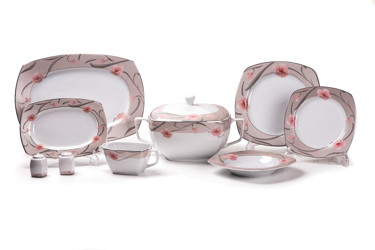 Сервиз столовый La Rose des Sables Oasis, 24 предмета579025 1569Сервиз столовый La Rose des Sables Oasis состоит из 6 обеденных тарелок, 6 десертных тарелок, 6 суповых тарелок, 2 овальных блюд, супницы с крышкой, соусника, солонки и перечницы. Посуда выполнена из высококачественного тунисского фарфора, изготовленного из уникальной белой глины. На всех изделиях La Rose des Sables можно увидеть маркировку Pate de Limoges. Это означает, что сырье для изготовления фарфора добывают во французской провинции Лимож, и качество соответствует высоким европейским стандартам. Все производство расположено в Тунисе. Особые свойства этой глины, открытые еще в 18 веке, позволяют создать удивительно тонкую, легкую и при этом прочную посуду. Благодаря двойному термическому обжигу фарфор обладает высокой ударопрочностью, стойкостью к сколам и трещинам, жаропрочностью и великолепным блеском глазури. Коллекция Oasis - это изысканная классика, дополненная нежным цветочным узором. Яркие розовые цветы и блестящая позолота на нежном фоне цвета...