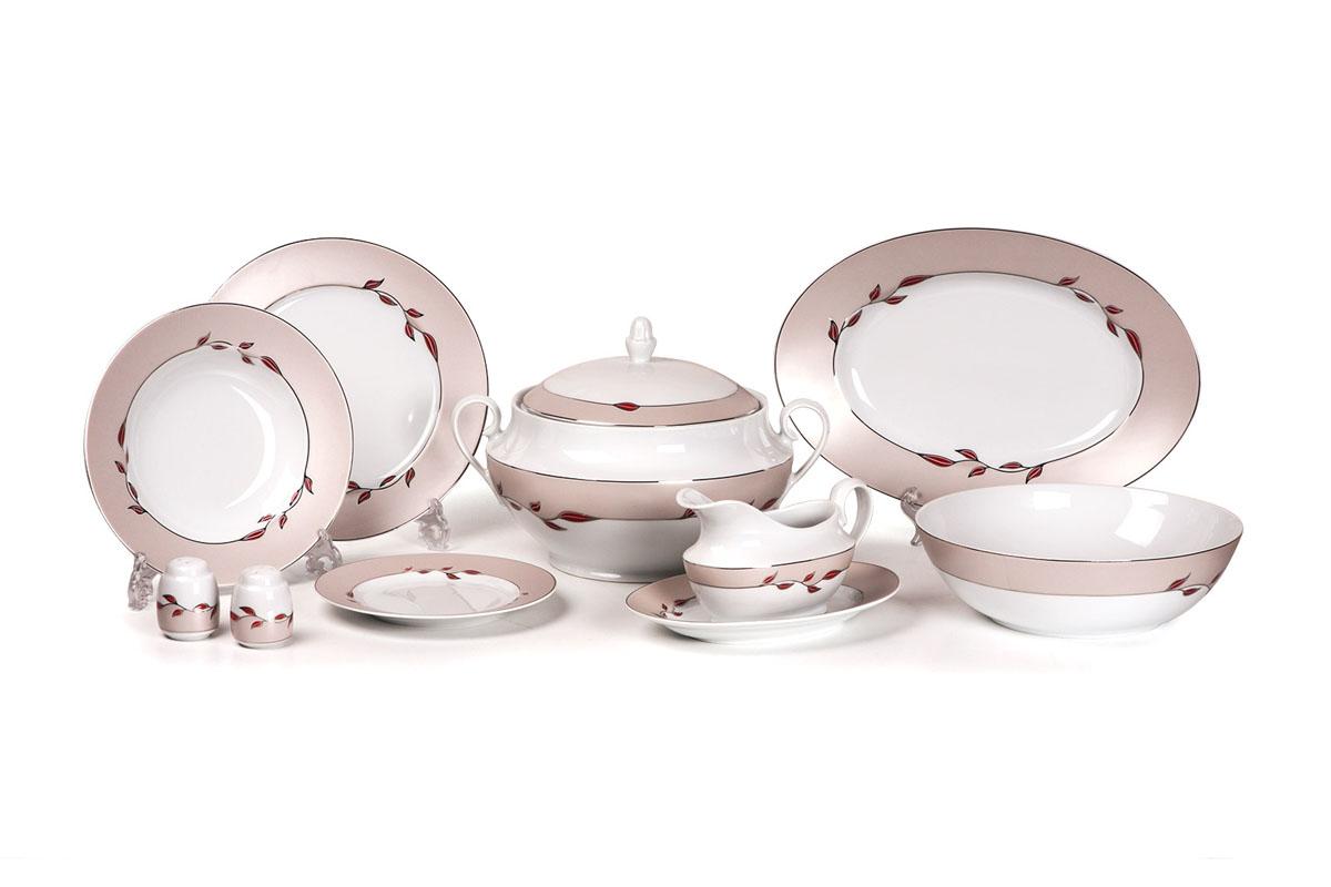Сервиз столовый 25пр, цвет: белый с платиной и цветным рисунком659025 1570Супница 3,5 л , глубокая тарелка 22 см 6 штук , тарелка 25 см 6 штук , десертная тарелка 19 см 6 штук , солонка, перечница, Блюдо овальное 24 см, Блюдо овальное 35 см , салатник 25см, соусник 230мл. Элегантная посуда класса люкс теперь на вашем столе каждый день. Сделанные из высококачественного материала с использованием новейших технологий, предметы сервировки Tunisie Porcelaine невероятно прочны и прекрасно подходят для повседневного использования. Нельзя использовать в микроволновой печи. Можно мыть в посудомоечной машине в щадящем режиме при температуре 40-50°С.