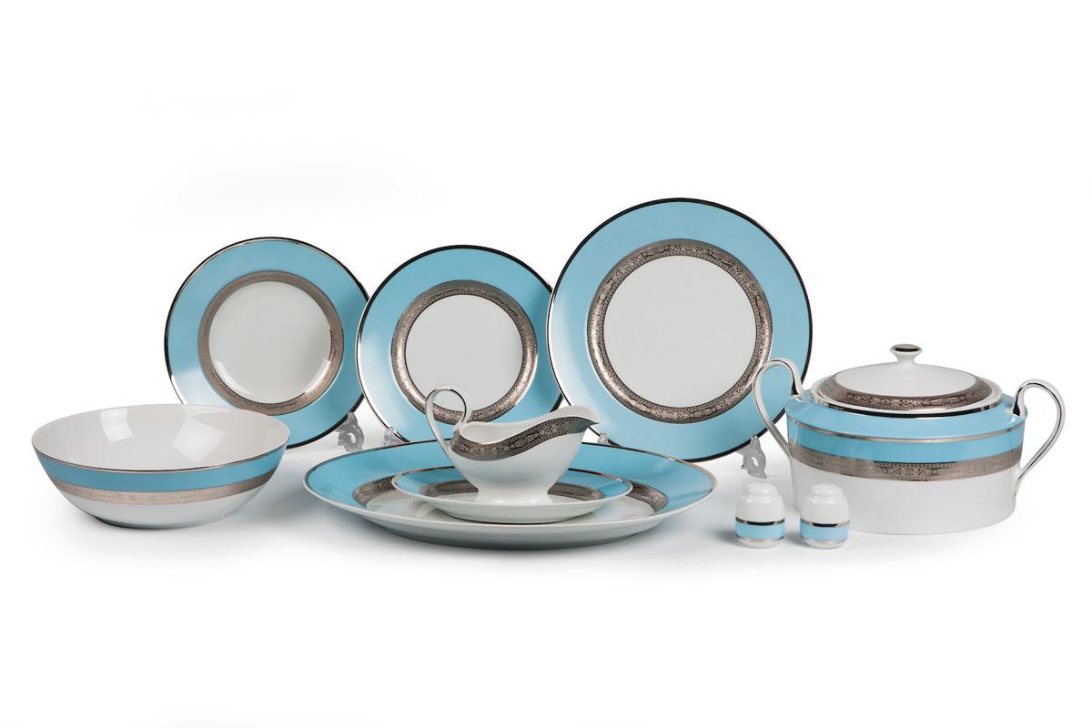 Mimosa 1626, сервиз столовый 25 предметов, цвет: бело-голубой с платиной679825 1626Супница 3,5 л , глубокая тарелка 22 см 6 штук , тарелка 27см 6 штук , десертная тарелка 21см 6 штук , солонка, перечница, Блюдо овальное 24 см, Блюдо овальное 35 см , салатник 25см, соусник 230мл. Элегантная посуда класса люкс теперь на вашем столе каждый день. Сделанные из высококачественного материала с использованием новейших технологий, предметы сервировки Tunisie Porcelaine невероятно прочны и прекрасно подходят для повседневного использования. Материал: фарфор: цвет: бело-голубой с платиной Серия: MIMOSA