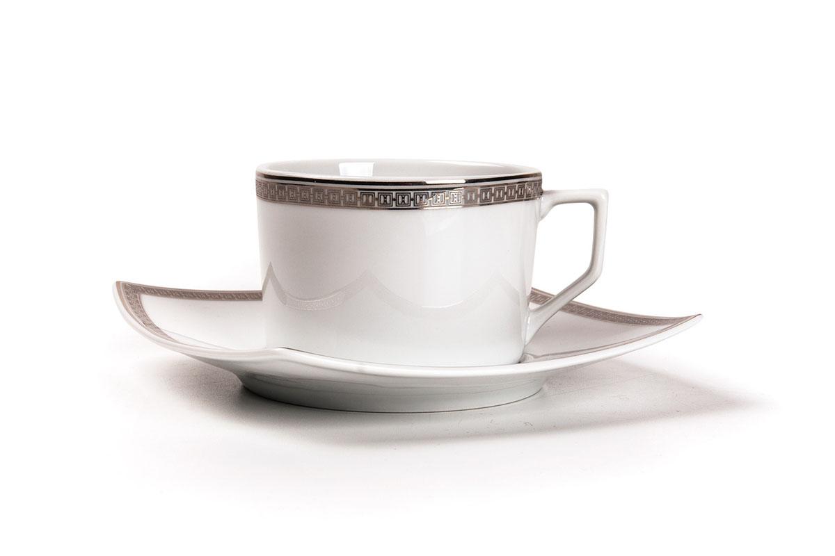 Kyoto 1554 набор чайных пар, 12пр, цвет: белый с платиной719506 1554Чайная пара 220 мл * 6 штук/ 12 предметов Материал: фарфор: цвет: белый с платиной Серия: KYOTO
