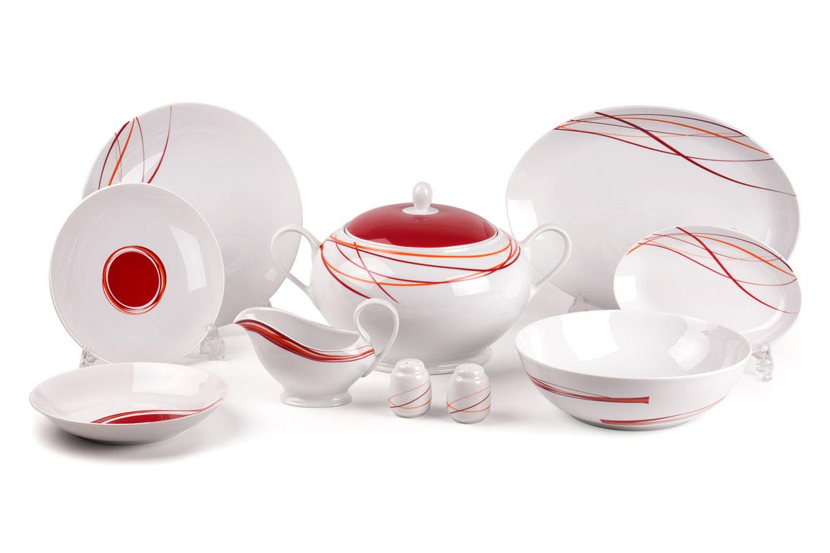 Monalisa 0540 сервиз столовый, 25пр, цвет: белый с красным729025 0540Супница 3,5 л , глубокая тарелка 22 см 6 штук , тарелка 27 см 6 штук , десертная тарелка 21 см 6 штук , солонка, перечница, Блюдо овальное 24 см, Блюдо овальное 35 см , салатник 25см, соусник 230мл. Элегантная посуда класса люкс теперь на вашем столе каждый день. Сделанные из высококачественного материала с использованием новейших технологий, предметы сервировки Tunisie Porcelaine невероятно прочны и прекрасно подходят для повседневного использования.
