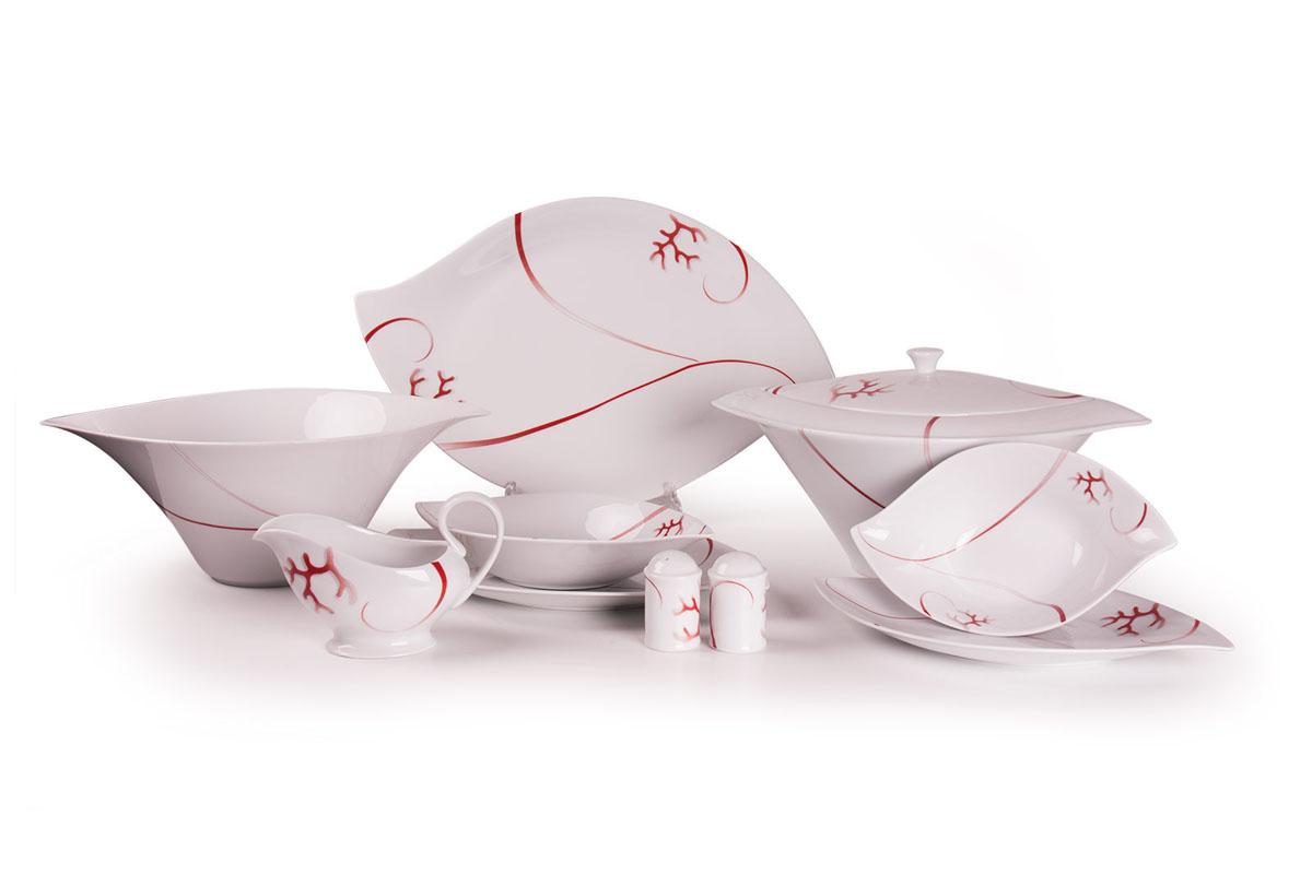Feuille 0544 столовый сервиз 25пр, цвет: белый с красным739025 0544Супница 3 л , глубокая тарелка 22 см 6 штук , тарелка 27см 6 штук , десертная тарелка 21см 6 штук , солонка, перечница, Блюдо овальное 24 см, Блюдо овальное 35 см , салатник 25см, соусник 230мл. Элегантная посуда класса люкс теперь на вашем столе каждый день. Сделанные из высококачественного материала с использованием новейших технологий, предметы сервировки Tunisie Porcelaine невероятно прочны и прекрасно подходят для повседневного использования. Материал: фарфор: цвет: белый с красным Серия: FEUILLE