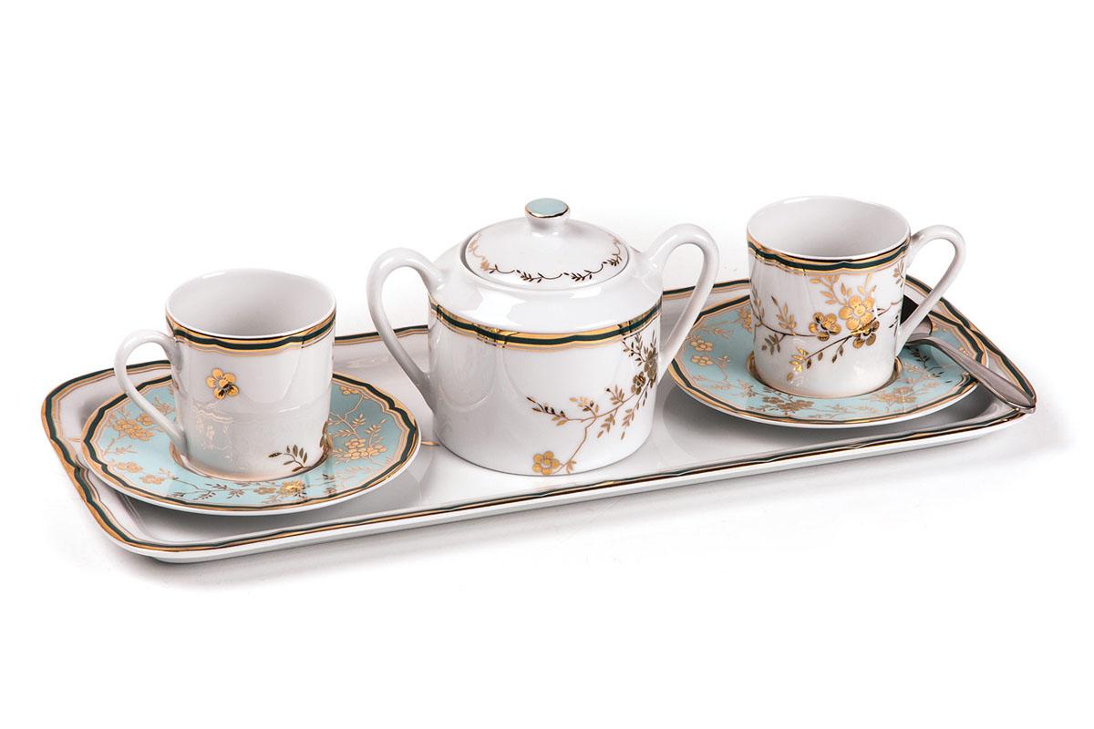 Кофейный набор на 2 персоны ( Тэт -а -тэт ), цвет: бело-голубой с золотом839005 2130Кофейный набор 90 мг 6 предметов
