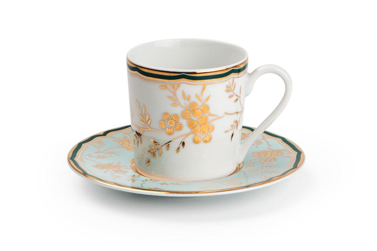 Набор кофейных пар * 6, цвет: бело-голубой с золотом839006 2130Кофейная пара 120 мл * 6 штук/ 12 предметов