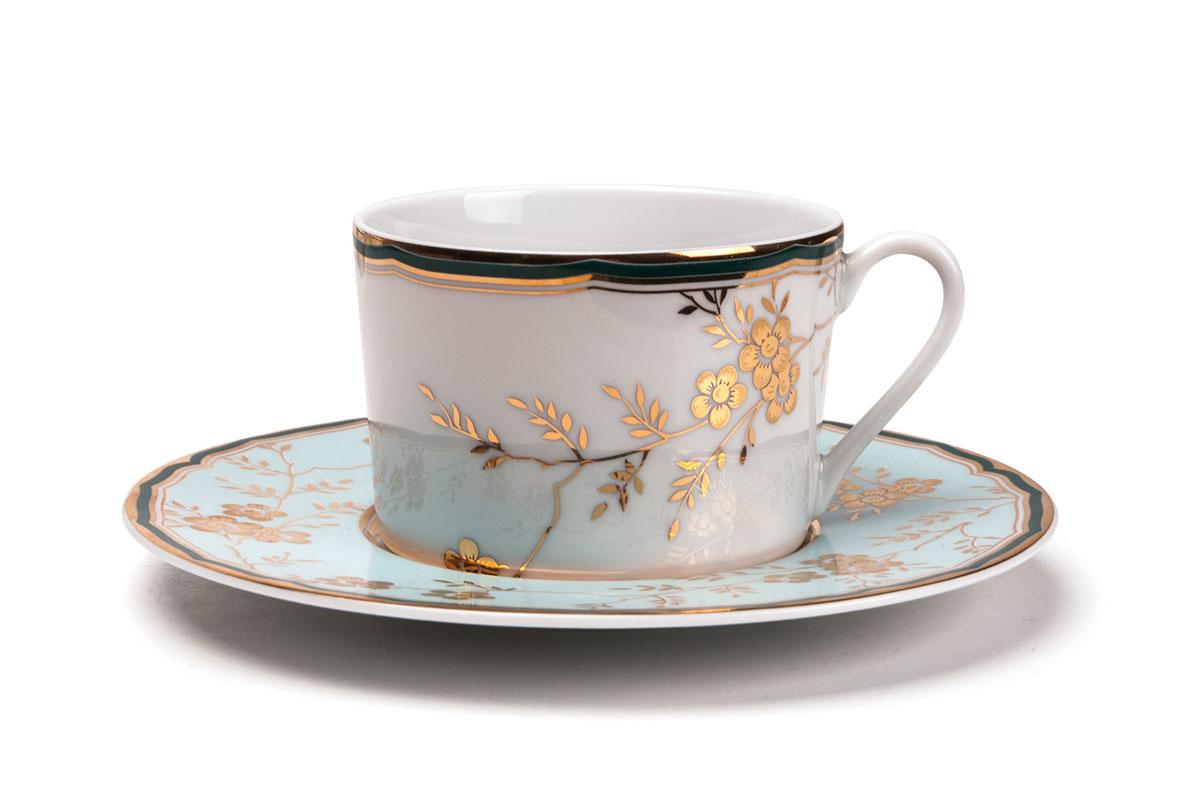 Набор чайных пар, 6шт/уп, цвет: бело-голубой с золотом839007 2130Чайная пара 220 мл * 6 штук/ 12 предметов Материал: фарфор: цвет: бело-голубой с золотом Серия: ZEN
