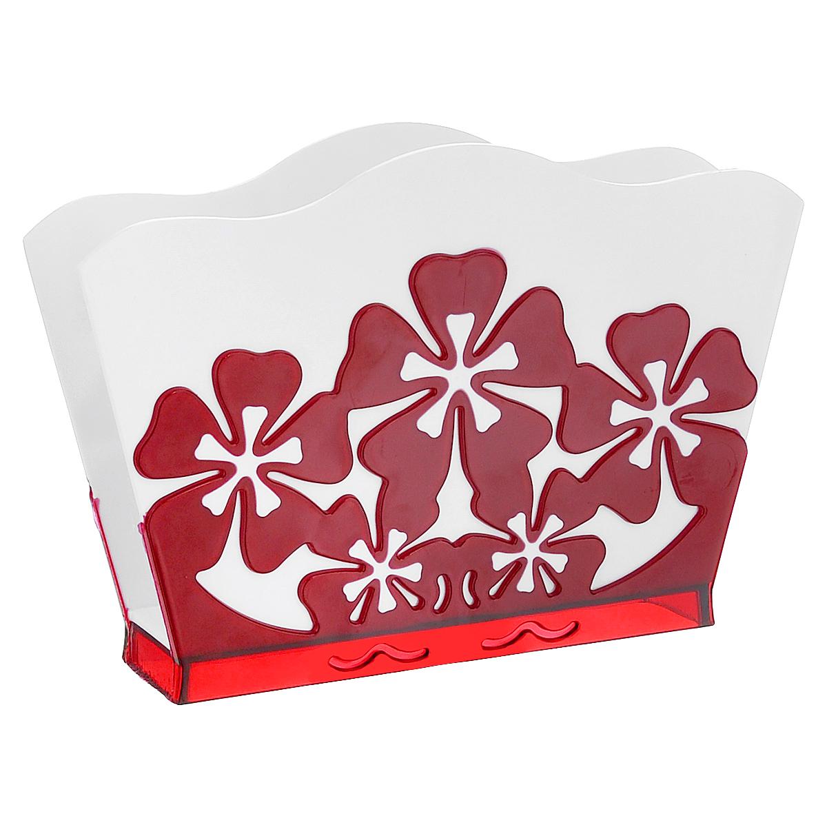 Салфетница Камелия, цвет: белый, красныйМ1928Салфетница Камелия изготовлена из высококачественного прочного пластика и оформлена декоративными цветами. Яркий и оригинальный дизайн несомненно придется вам по вкусу. Такая салфетница великолепно украсит праздничный стол.