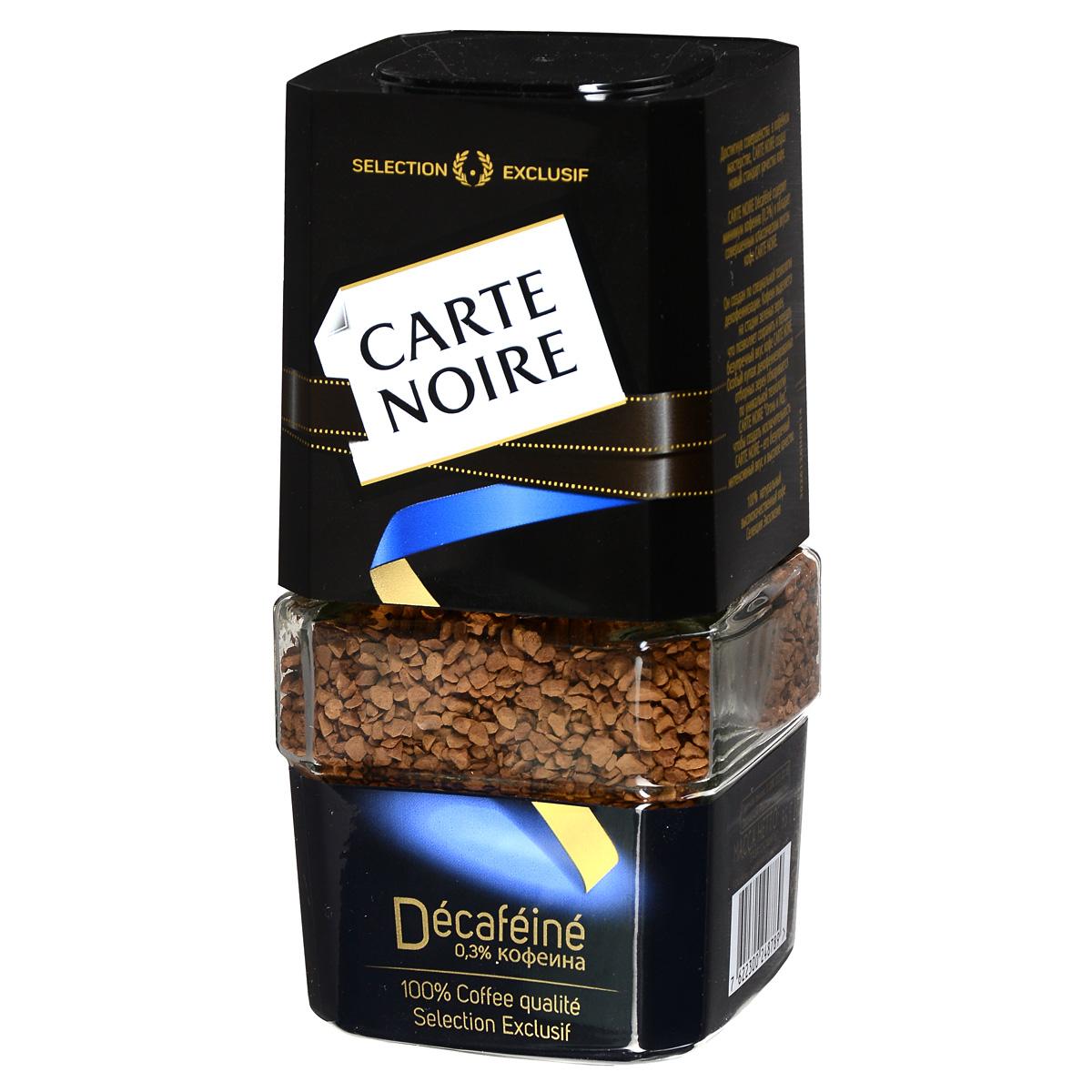 Carte Noire Decafeine кофе растворимый, 95 г (стеклянная банка)604354Carte Noire Decafeine содержит минимум кофеина (0,3%) и обладает совершенным классическим вкусом кофе Carte Noire. Он создан по специальной технологии декофеинизации: кофеин выделяется на стадии зеленых зерен, что позволяет сохранить и передать безупречный вкус кофе Carte Noire. Особый купаж декофеинезированных отборных зерен обжариваются по уникальной технологии Carte Noire Огонь и Лед, чтобы создать исключительность Carte Noire - его безупречный интенсивный вкус и высокое качество.