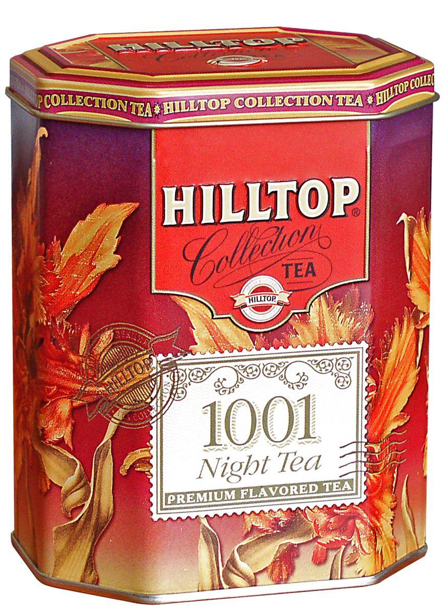 Hilltop 1001 Ночь ароматизированный листовой чай, 100 г4607099300149Hilltop 1001 Ночь содержит в себе смесь чёрных и зелёных байховых чаёв с добавлением лепестков розы, жасмина, подсолнечника и сафлора. Ароматизирован натуральными маслами.