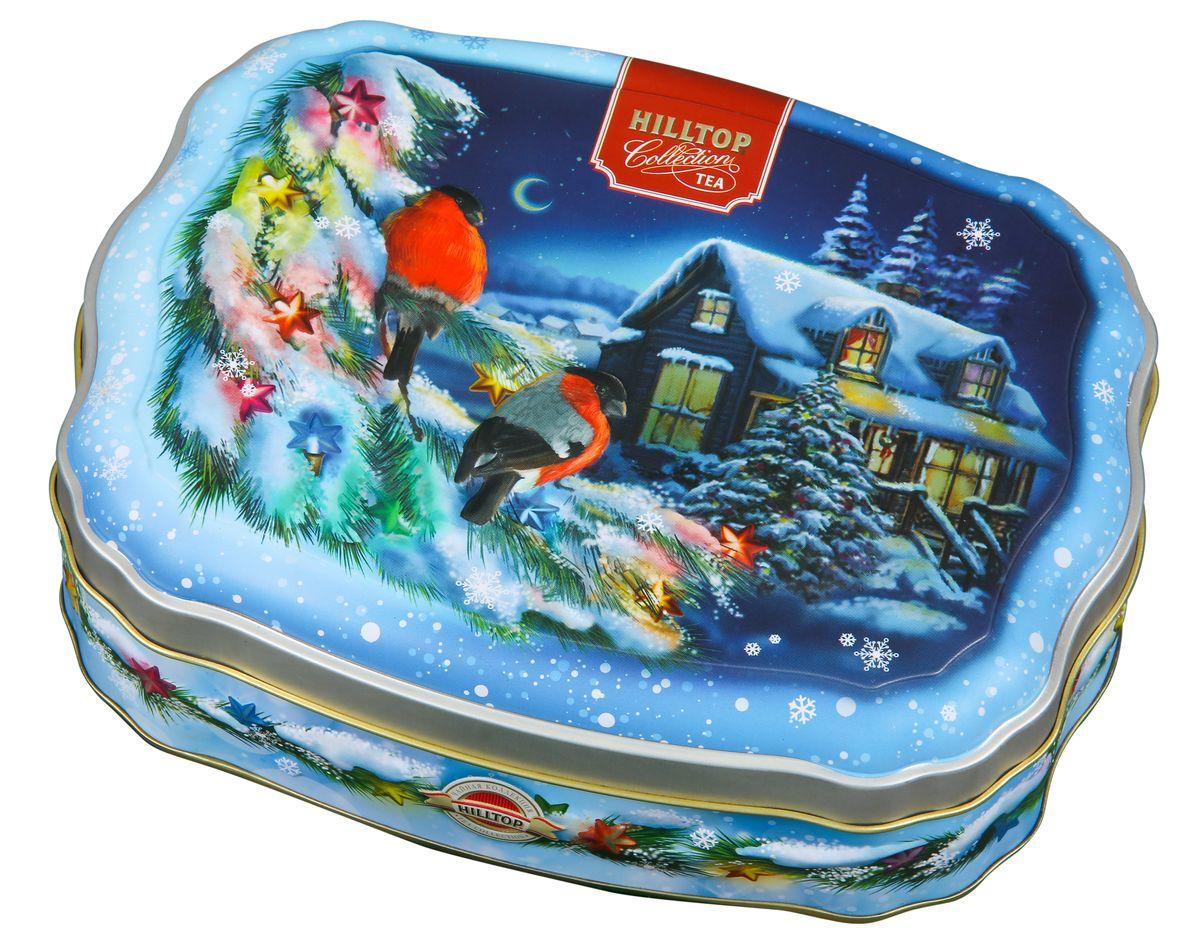 Hilltop Зимние снегири черный листовой чай, 100 г4607099305663Крупнолистовой терпкий черный чай Hilltop Зимние снегири прекрасно согреет вас долгими зимними вечерами. Яркая упаковка-шкатулка послужит прекрасным подарком, а также украсит любое новогоднее чаепитие!