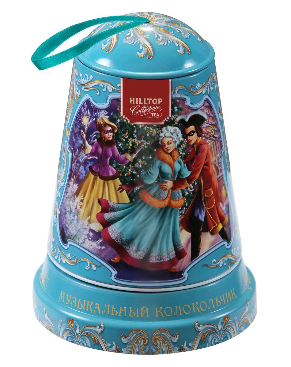 Hilltop Маскарад чайный набор4607099305731Музыкальная подарочная упаковка чая Hilltop Маскарад послужит великолепным украшением вашего дома в новогодние праздники! Благодаря необычному дизайну в виде елочной игрушки - колокольчика коробку можно повесить прямо на новогоднюю елку. Внутри вы найдете крупнолистовой чёрный чай Цейлонское утро.