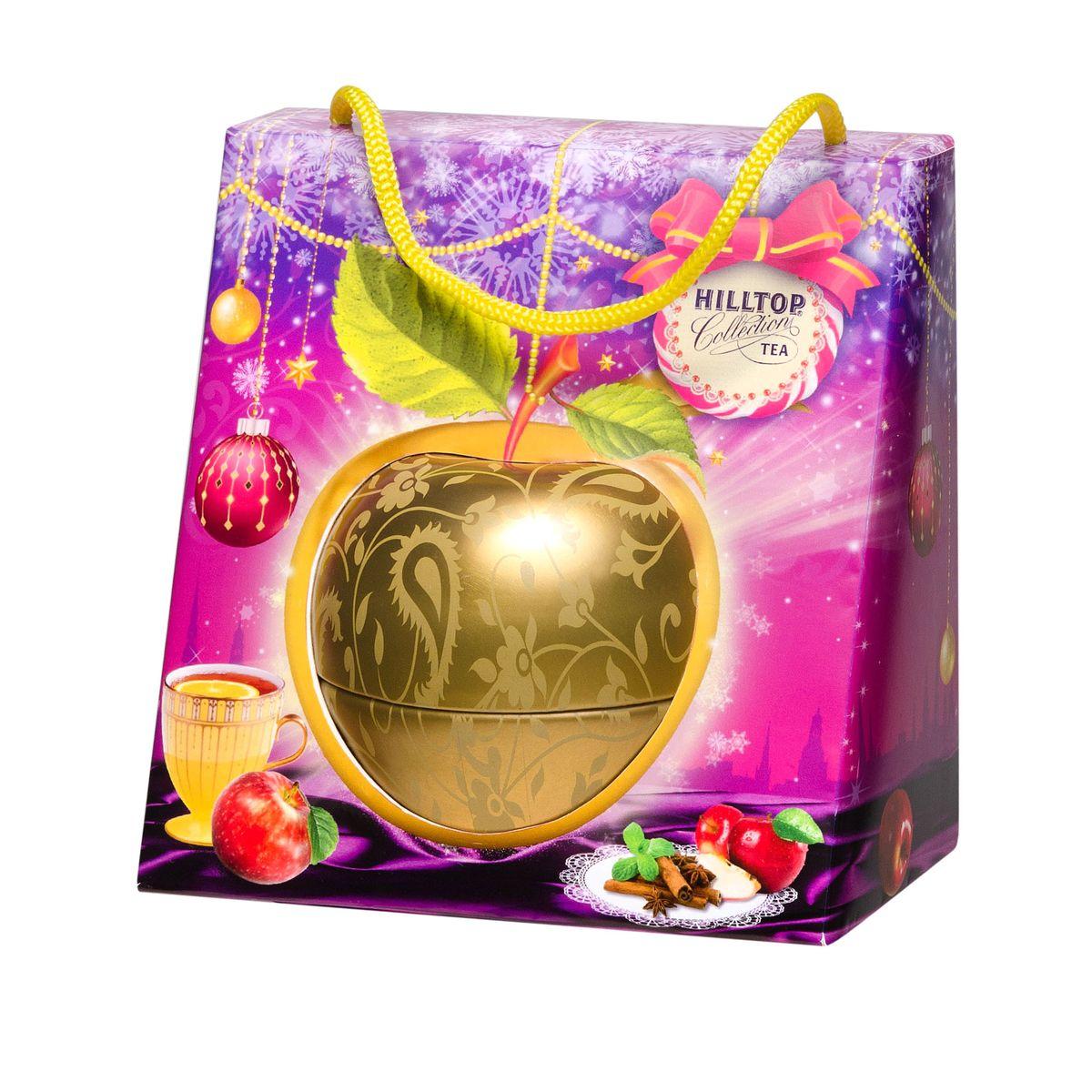 Hilltop Золотое яблочко черный листовой чай, 50 г4607099305793Крупнолистовой терпкий черный чай стандарта Супер Пеко Hilltop Золотое яблочко собран на лучших плантациях острова Цейлон. Этот чай с терпким настоем и ярким ароматом безусловно будет украшением новогоднего чаепития, а также отличным подарком вашим близким! Яркая подарочная упаковка не оставит равнодушным ни одного человека!