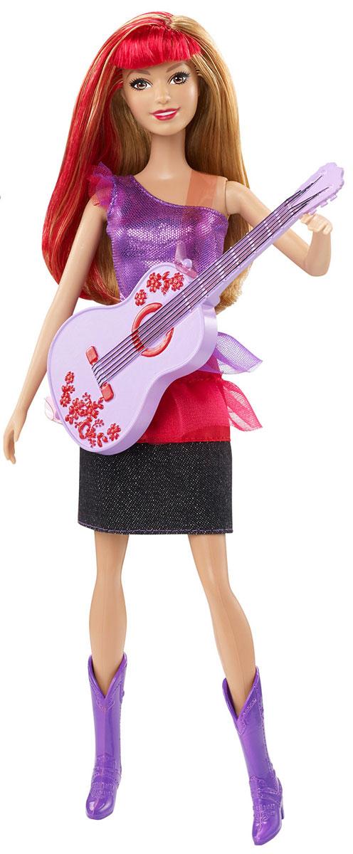 Barbie Кукла Рок-принцесса с гитаройCKB60_CKB63_CKB63В фильме Барби рок-принцесса происходит столкновение двух разных миров, когда из-за путаницы принцесса и рок-звезда по ошибке отправляются не в те летние лагеря, в которые собирались! Но в конечном итоге девочки с радостью признают свои различия, обретают свои настоящие голоса и верных друзей и понимают, что нет ничего невозможного, когда они действуют сообща! Девочкам понравится воссоздавать сцены из этой увлекательной истории, играя с этими рок-звездами, которые готовы дать потрясающее выступление, используя их гламурные музыкальные инструменты. Кукла одета в потрясающие наряды, идеально подходящие для любой сцены: она блистает в фиолетовой маечке и синей юбке с красной вставкой. На ногах - высокие фиолетовые сапожки. Девочки могут воссоздавать любимые сцены из фильма благодаря этим потрясающим музыкальным куклам или придумывать собственные истории и новые приключения! Собери обеих кукол и других героев фильма, чтобы воссоздавать сцены из мультфильма Барби рок-принцесса!