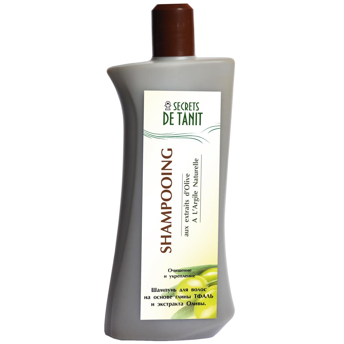 Secrets de Tanit Шампунь с Тфалью и маслом оливы, 400 мл1000020Натуральный шампунь  Secrets de Tanitна основе глины Тфаль (Гассуль ) вулканического происхождения деликатно очищает волосы от загрязнений и осуществляет деликатный пилинг кожи головы. Масло оливы, входящее в состав шампуня, питает волосы, насыщает витаминами А, Е, защищает волосы от негативного воздействия окружающей среды. В результате мытья волосы уплотняются, приобретают блеск и сияние.