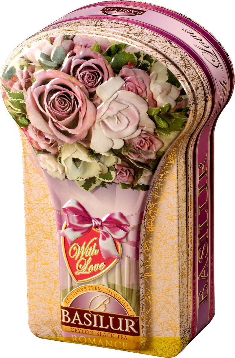 Basilur Romance черный листовой чай, 100 г (жестяная банка)70637-00Чёрный цейлонский байховый листовой чай Basilur Romance с лепестками цветов апельсина, розы и амаранта и ароматами розы и бергамота понравится всем любителям чая. Необычная шкатулка в виде букета роз послужит прекрасным подарком на любое торжество, или просто найдет достойное место дома, украсив вашу кухню.