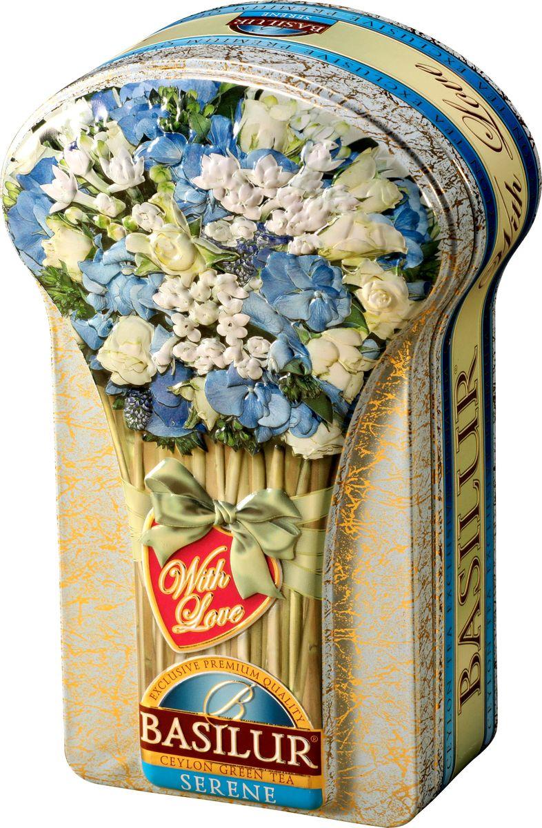 Basilur Serene зеленый листовой чай, 100 г (жестяная банка)70640-00Зелёный цейлонский байховый листовой чай Basilur Serene с яблоком, бутонами жасмина, лепестками василька и ароматами розы и яблока поднимут вам настроение и освежат в течение дня. Красивая коробка с изображением букета цветов порадует вас и ваших близких, стоя на кухонном столе. Также вы можете преподнести этот чай в качестве подарка истинным ценителям напитка.
