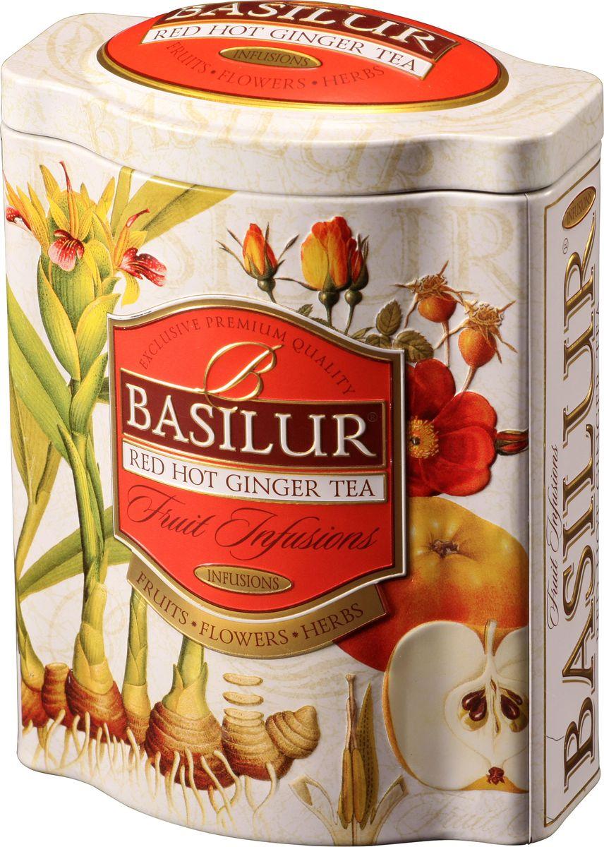 Basilur Red Hot Ginger фруктовый листовой чай, 100 г (жестяная банка)70528-00Фруктовый чай Basilur Red Hot Ginger с кусочками яблока и папайи, гибискусом, шиповником, имбирем, цедрой апельсина. Насладитесь восхитительными азиатскими ароматами с Basilur Пряный имбирь. Великолепное сочетание имбиря, яблока, пикантной апельсиновой корки и других компонентов чая, которые обеспечат вас дополнительной энергией. Чай - природный источник энергии, который необходимо употреблять в горячем или холодном виде, идеально подходит для любого времени суток.