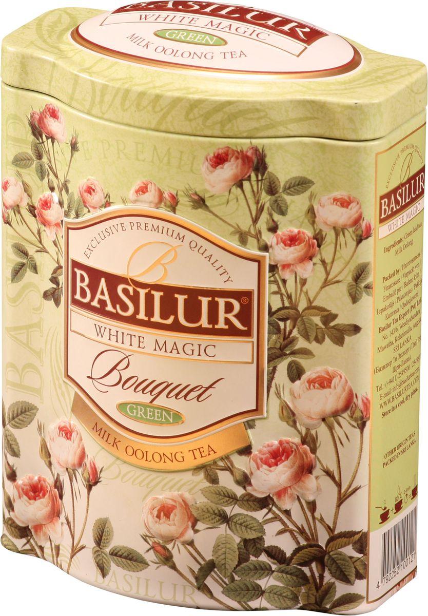 Basilur White Magic зеленый листовой чай, 100 г (жестяная банка)70147-00Зеленый китайский байховый листовой чай улун Basilur White Magic с молочным ароматом в подарочной упаковке несомненно придется по вкусу всем любителям этого полуферментированного чая! Это уникальное сочетание молочного зелёного чая улун, который составляет основу старинной традиционной рецептуры приготовления напитка восхитительного вкуса и аромата.
