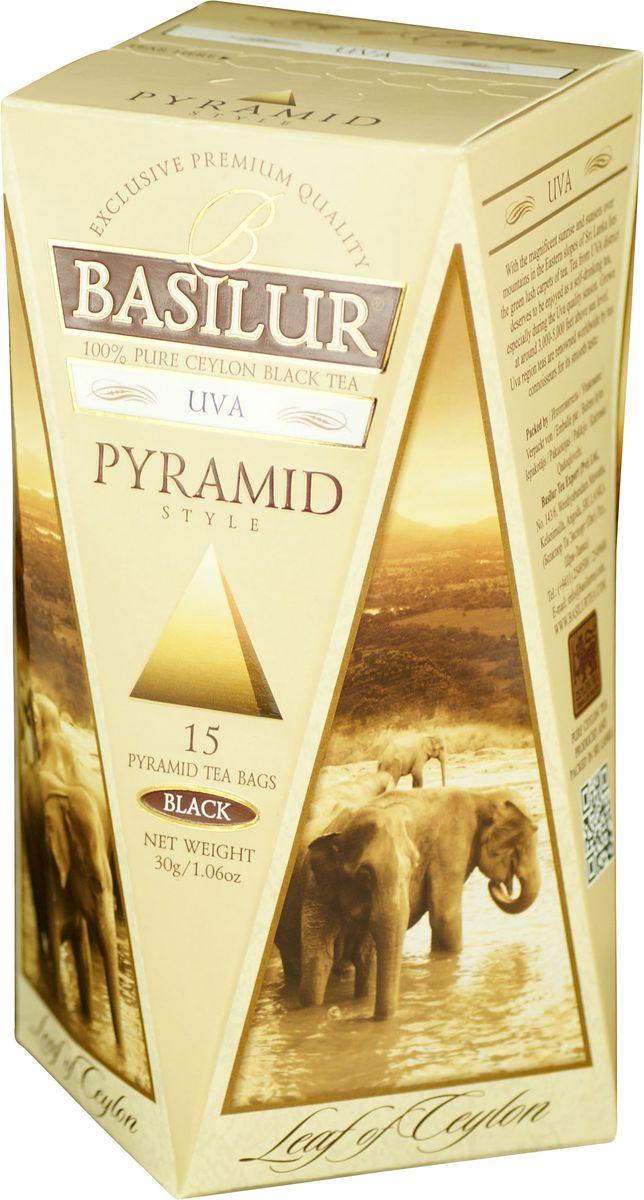 Basilur Uva OP черный чай в пакетиках, 15 шт70663-00Чай чёрный цейлонский байховый мелколистовой Basilur Uva в пирамидках. На восточных склонах центральных гор острова Шри-Ланка с его уникальной природой, в живописных районах провинции УВА, произрастает всемирно известный листовой чай, который славится богатым вкусом, насыщенным золотистым цветом и изысканным ароматом.