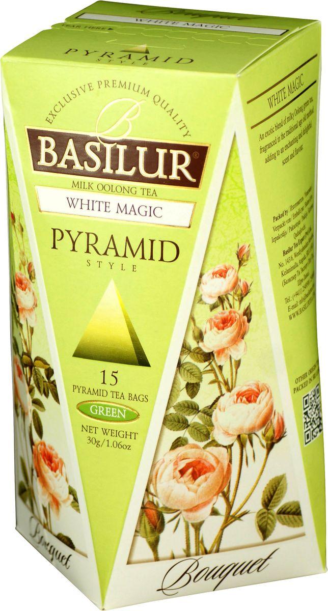 Basilur White Magic зеленый чай в пакетиках, 15 шт70667-00Чай зелёный китайский байховый мелколистовой Basilur White Magic в пирамидках с молочным ароматом. Чай Basilur White Magic - это уникальное сочетание молочного зелёного чая улун (Oolong), который составляет основу старинной традиционной рецептуры приготовления напитка восхитительного вкуса и аромата.