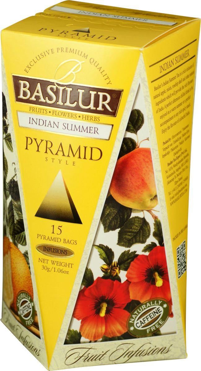 Basilur Indian Summer фруктовый чай в пакетиках, 15 шт70654-00Basilur Indian Summer - фруктовый чай в пирамидках с кусочками яблока, изюма и ежевики, шиповником и корицей, гибискусом, цедрой апельсина, бутонами розы и лепестками подсолнечника, ароматами алоэ, апельсина и сливок. Композиция из яблока, изюма, шиповника и других компонентов, которые предоставляют собой богатые ароматы Индии, будет прекрасным дополнением к любому пряному блюду. Также напитком можно наслаждаться теплыми летними днями в охлажденном виде.
