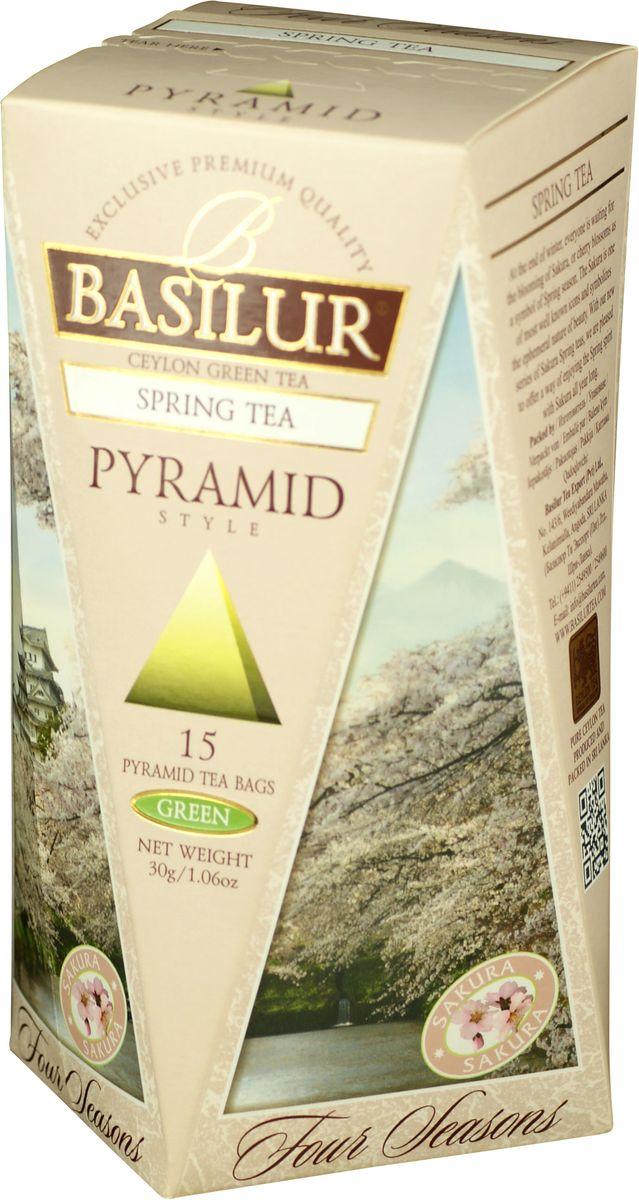 Basilur Spring Tea зеленый чай в пирамидках, 15 шт70660-00Basilur Spring Tea - зеленый цейлонский байховый мелколистовой чай с ароматом вишни, который напомнит о свежести цветущего весной вишневого сада и подарит бодрость на весь день!. Нежная красота распускающихся бутонов сакуры, как символ наступающей весны будет всегда поражать ваше воображение, если вы пьёте чай Весенний от Basilur!
