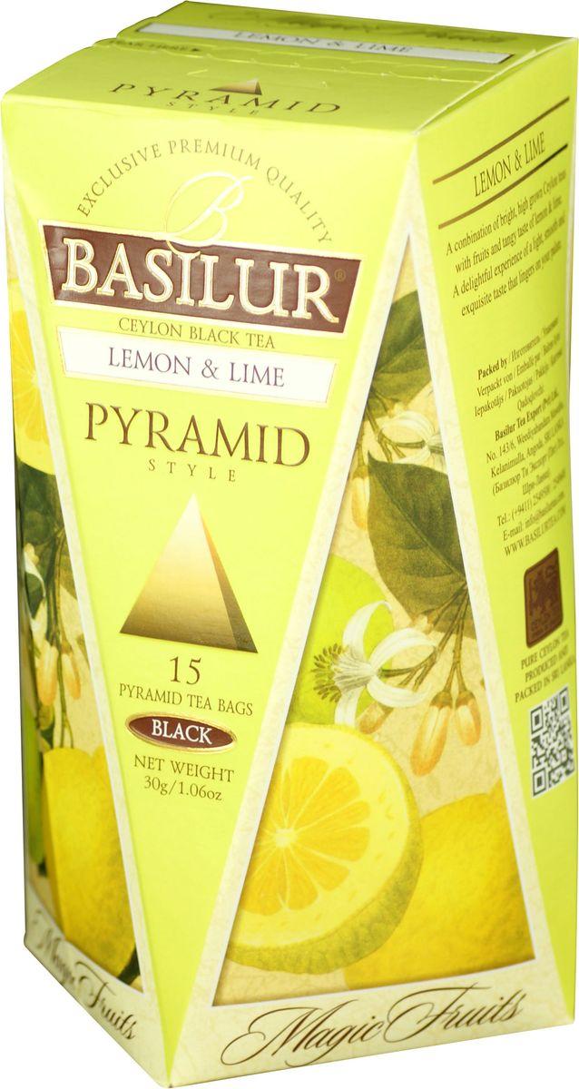 Basilur Lemon and Lime черный чай в пирамидках, 15 шт70649-00Чёрный цейлонский байховый мелколистовой чай Basilur Lemon and Lime с яблоком и ароматами лимона и лайма в пирамидках подарит свежесть и восстановит силы в течение дня. Великолепный купаж элитных сортов чёрного высокогорного цейлонского чая, дополненный свежим, лёгким ароматом лимона и лайма, создает неповторимый вкус этого чая, оставляющий нежное и мягкое послевкусие.