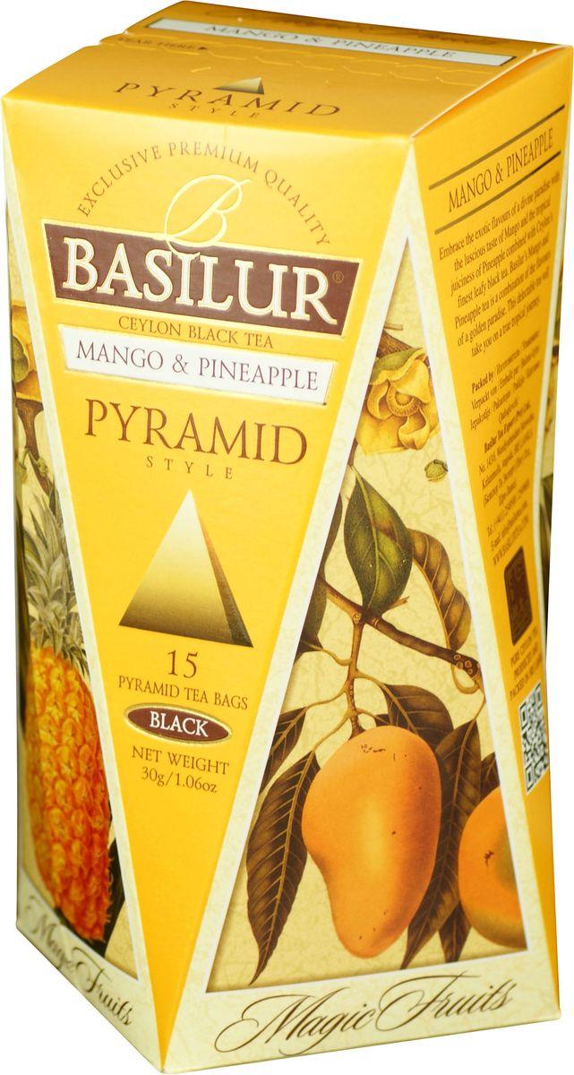 Basilur Mango and Pineapple черный чай в пакетиках, 15 шт70651-00Чай чёрный цейлонский байховый мелколистовой Basilur Mango and Pineapple в пирамидках с яблоком и ароматами манго, ананаса и маракуйи. Экзотические ароматы сладкого манго и сочного ананаса в сочетании с лучшим листовым цейлонским чёрным чаем создают ощущение бесконечного путешествия по тропическому раю. Чай Basilur Манго и ананас насыщен ароматами солнечных тропиков.