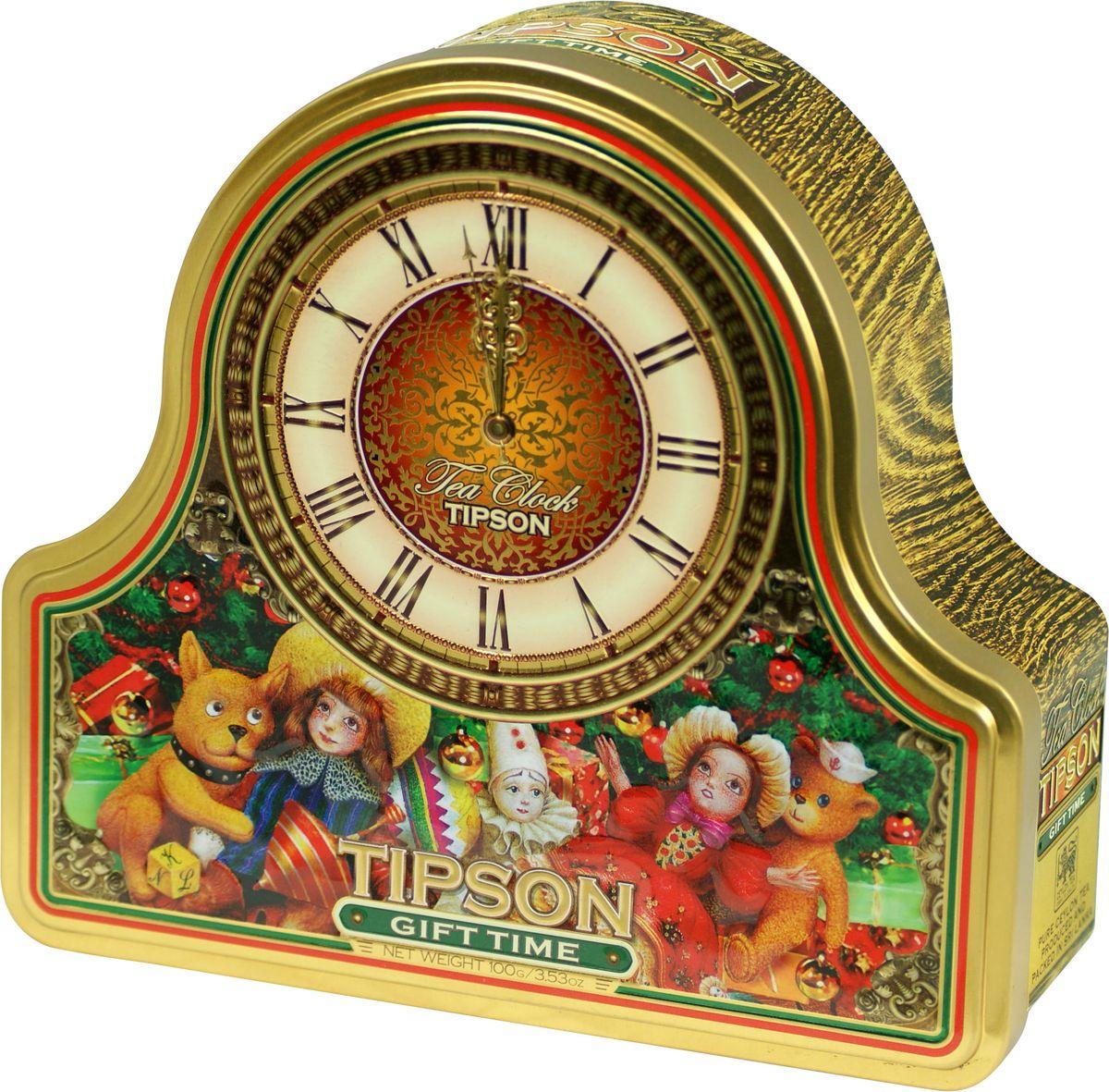 Tipson Gift Time черный листовой чай, 100 г (жестяная банка)80088-00Tipson Gift Time - чёрный цейлонский байховый листовой чай с ароматами клубники и сливок. Поставляется в новогодней подарочной металлической банке в форме часов.