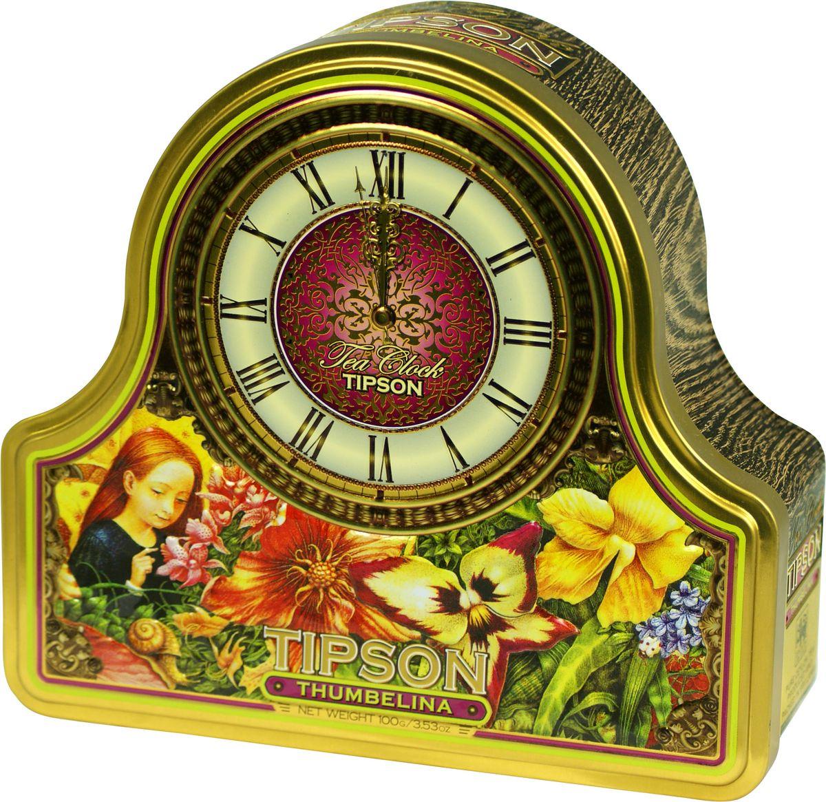 Tipson Thumbelina черный листовой чай, 100 г (жестяная банка)80089-00Чай Tipson Tea Clock Thumbelina представляет собой черный чай с ароматом персика и корицы в красивой жестяной банке в форме часов. Упаковка содержит первоклассный крупнолистовой цейлонский чай с добавками, выращенный и обработанный на солнечных чайных плантациях острова Цейлон. Чайный купаж Tipson Tea Clock Thumbelina был тщательно сбалансирован, а его качество подтверждено многочисленными проверками в лаборатории.