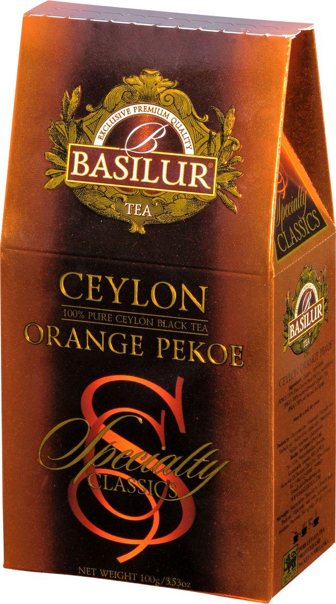Basilur Ceylon Orange Pekoe черный листовой чай, 100 г70772-00Basilur Ceylon Orange Pekoe - черный байховый листовой чай. Этот изысканный чай выращен на лучших горных чайных плантациях Цейлона. Оранж Пеко - это чай из двух верхних молодых листочков, покрытых нежным пушком. Он дает крепкий настой и приятный аромат.