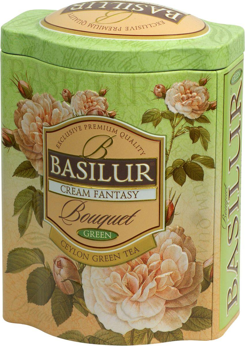 Basilur Cream Fantasy зеленый листовой чай, 100 г (жестяная банка)70146-00Basilur Cream Fantasy зеленый байховый листовой чай с кусочками папайи, лепестками амаранта, а также ароматами клубники и сливок. Насыщенный, но мягкий вкус этого чая играет множеством сложных оттенков, восхитительное сочетание вкуса особого зеленого чая со сладким, тонким ароматом клубники, дополненное нежностью сливок, создаёт ощущение блаженства.
