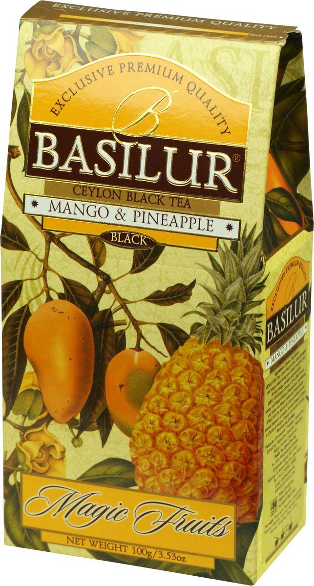 Basilur Mango and Pineapple черный листовой чай, 100 г70535-00Чай чёрный цейлонский байховый листовой Basilur Mango and Pineapple с кусочками ананаса и манго, цедрой апельсина, лепестками васильков и ароматами манго, ананаса и маракуйи. Экзотические ароматы сладкого манго и сочного ананаса в сочетании с лучшим листовым цейлонским чёрным чаем создают ощущение бесконечного путешествия по тропическому раю. Чай Basilur Манго и ананас насыщен ароматами солнечных тропиков.