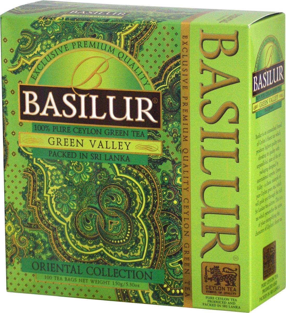 Basilur Green Valley зеленый чай в пакетиках, 100 шт70929-00Basilur Green Valley - зеленый байховый мелколистовой чай в пакетиках с ярлычками для разовой заварки. Приятный на вкус и богатый своими отличительными свойствами цейлонский зелёный чай является кульминацией богатой истории выращивания чая на острове Цейлон. Ценные компоненты входящие в его состав, такие как флавоноиды, антиоксиданты и катехины, предотвращают окислительное повреждение в клетках лучше чем витамины С и Е, делая чай отличным помощником в поддержании здорового образа жизни и приятным напитком в течении всего года.