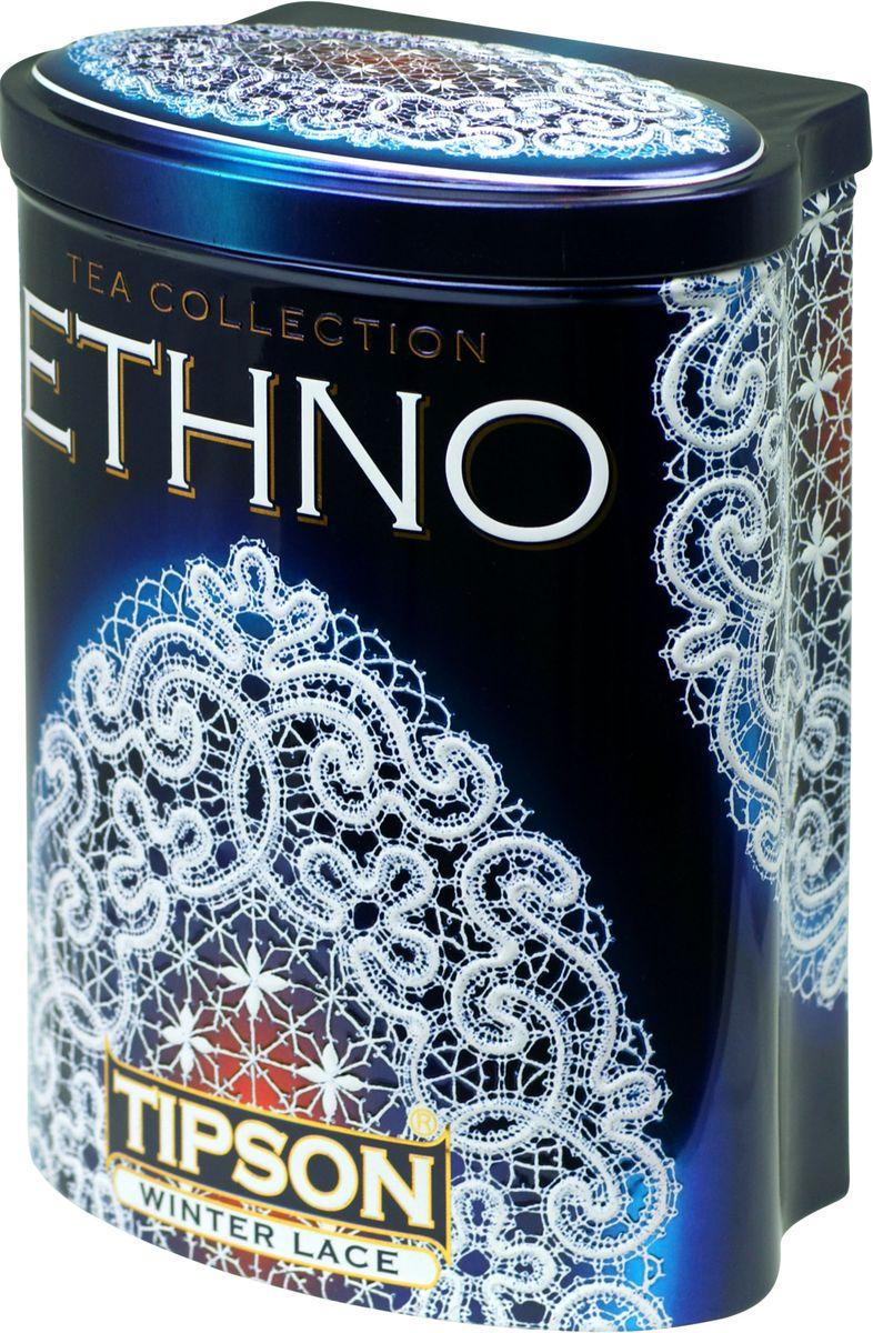 Tipson Winter Lace черный листовой чай, 100 г (жестяная банка)80092-00Чай чёрный цейлонский байховый листовой Tipson Winter Lace с ароматом мороженного красного винограда.
