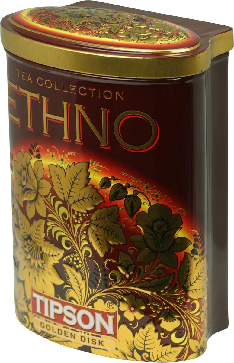 Tipson Golden Disk черный листовой чай, 100 г (жестяная банка)80091-00Чай чёрный цейлонский байховый листовой Tipson Golden Disk с ароматами кофе, ванили и сливок.
