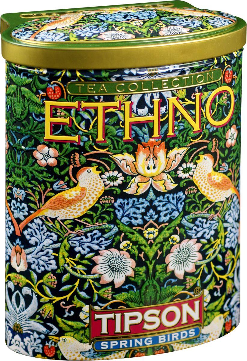 Tipson Spring Birds зеленый листовой чай, 100 г (жестяная банка)80096-00Чай зелёный цейлонский байховый листовой Tipson Spring Birds с ароматами вишни и граната.