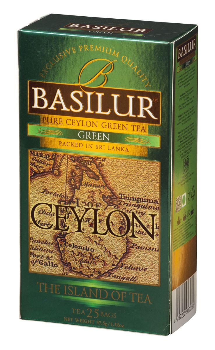 Basilur Green зеленый чай в пакетиках, 25 шт70482-00Basilur Green OPA - зеленый байховый листовой чай. Цейлонский зеленый чай способствует здоровью и долголетию. Минимальная обработка этого вида чая позволяет сохранить большинство витаминов, минералов, антиоксидантов, и других биоактивных веществ, благотворно влияющих на организм.