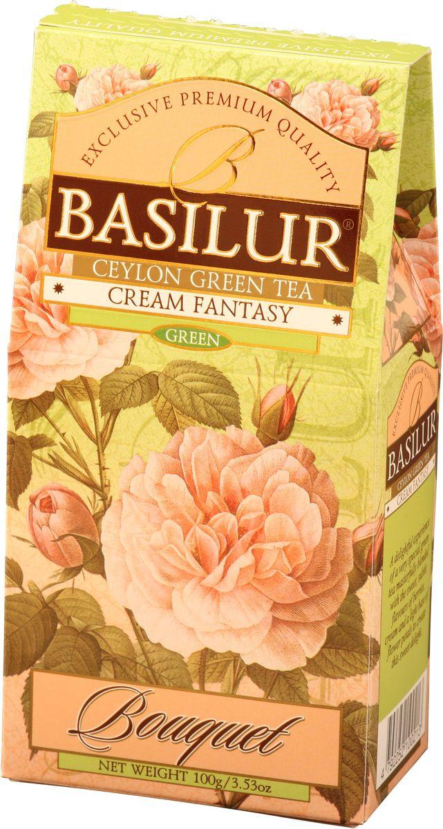 Basilur Cream Fantasy зеленый листовой чай, 100 г70139-00Basilur Cream Fantasy зеленый байховый листовой чай с кусочками папайи, лепестками амаранта, а также ароматами клубники и сливок. Насыщенный, но мягкий вкус этого чая играет множеством сложных оттенков, восхитительное сочетание вкуса особого зеленого чая со сладким, тонким ароматом клубники, дополненное нежностью сливок, создаёт ощущение блаженства.