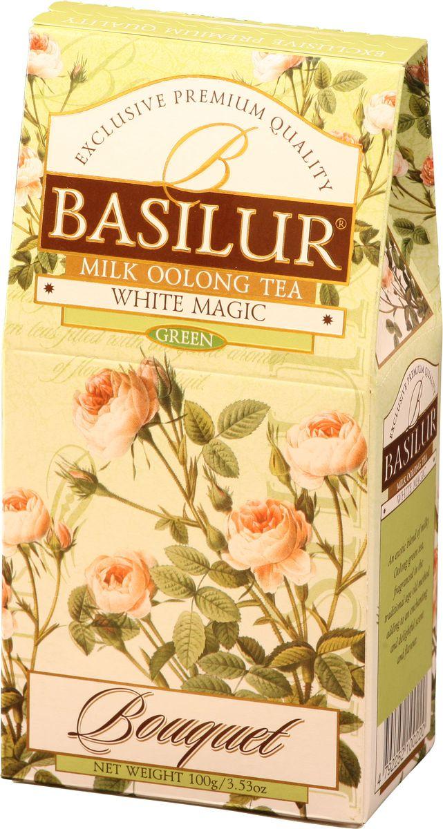 Basilur White Magic зеленый листовой чай, 100 г70140-00Чай зеленый китайский байховый листовой Basilur White Magic с молочным ароматом. Чай Basilur White Magic - это уникальное сочетание молочного зелёного чая улун (Oolong), который составляет основу старинной традиционной рецептуры приготовления напитка восхитительного вкуса и аромата.
