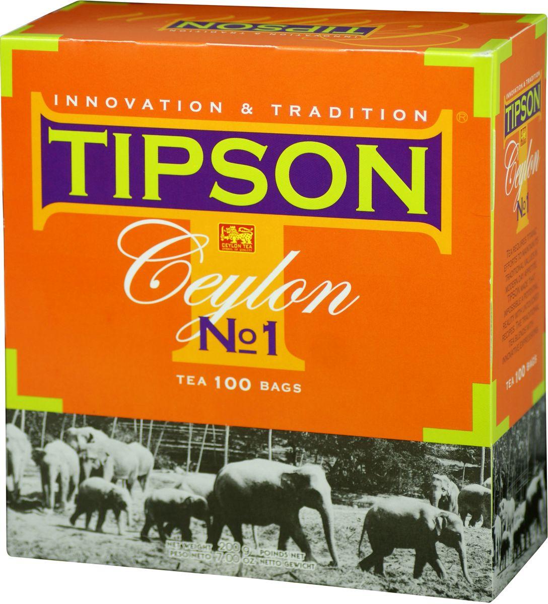 Tipson Ceylon №1 черный чай в пакетиках, 100 шт80003-00Чай чёрный цейлонский байховый мелколистовой Tipson Ceylon №1 в пакетиках с ярлычками для разовой заварки. Чай, произрастающий на острове Цейлон, давно признан лучшим в мире. Наши эксперты предлагают Вам чай №1, в котором найден гармоничный баланс между силой вкуса и элегантностью аромата.
