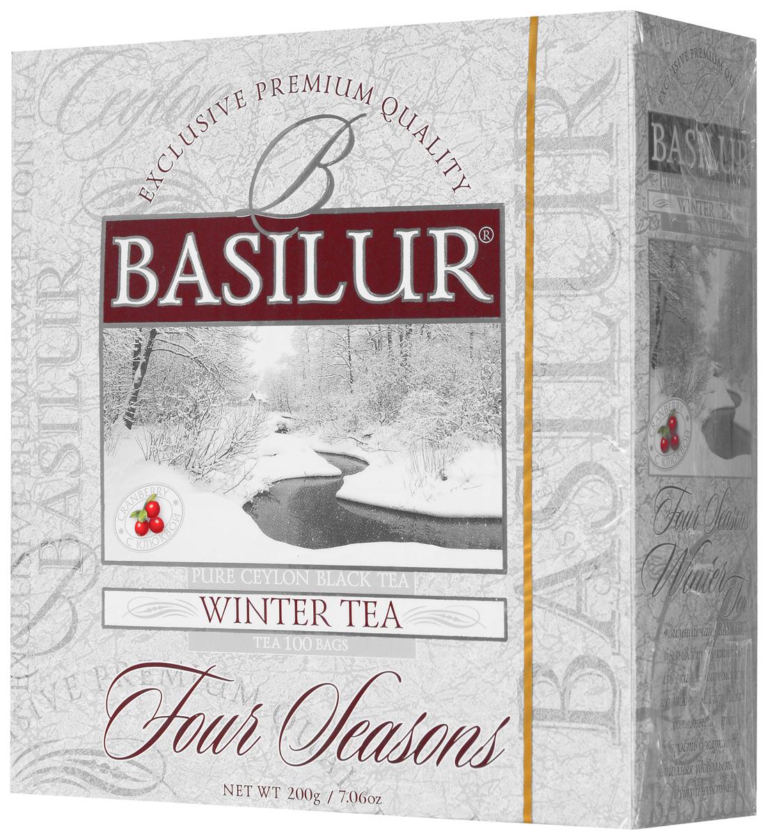 Basilur Winter Tea черный чай в пакетиках, 100 шт70168-00Чёрный цейлонский байховый мелколистовой чай Basilur Winter Tea с ароматом клюквы в пакетиках с ярлычками для разовой заварки прекрасно освежит и придаст сил. Смесь лучших сортов цейлонского чая стандарта ОP и натуральных ягод клюквы специально составлена мастерами-дегустаторами чая, что бы вызвать у вас восхищение изысканностью вкуса и аромата. Зимний чай Basilur согреет в холодные дни и подарит бодрость - в жаркие.
